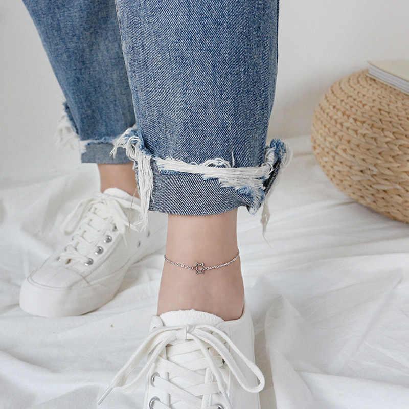Eds tornozeleira prata 925 jóias tornozelo pulseira 925 prata esterlina pé pulseira feminina moda coreana vintage corrente estrela tornozelos