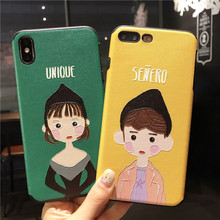 Jamular Cute Hand-painted Boy Girl Phone Case for iphone 6 6s 7 8 plus X XR XS MAX All-inclusive Shell Couple