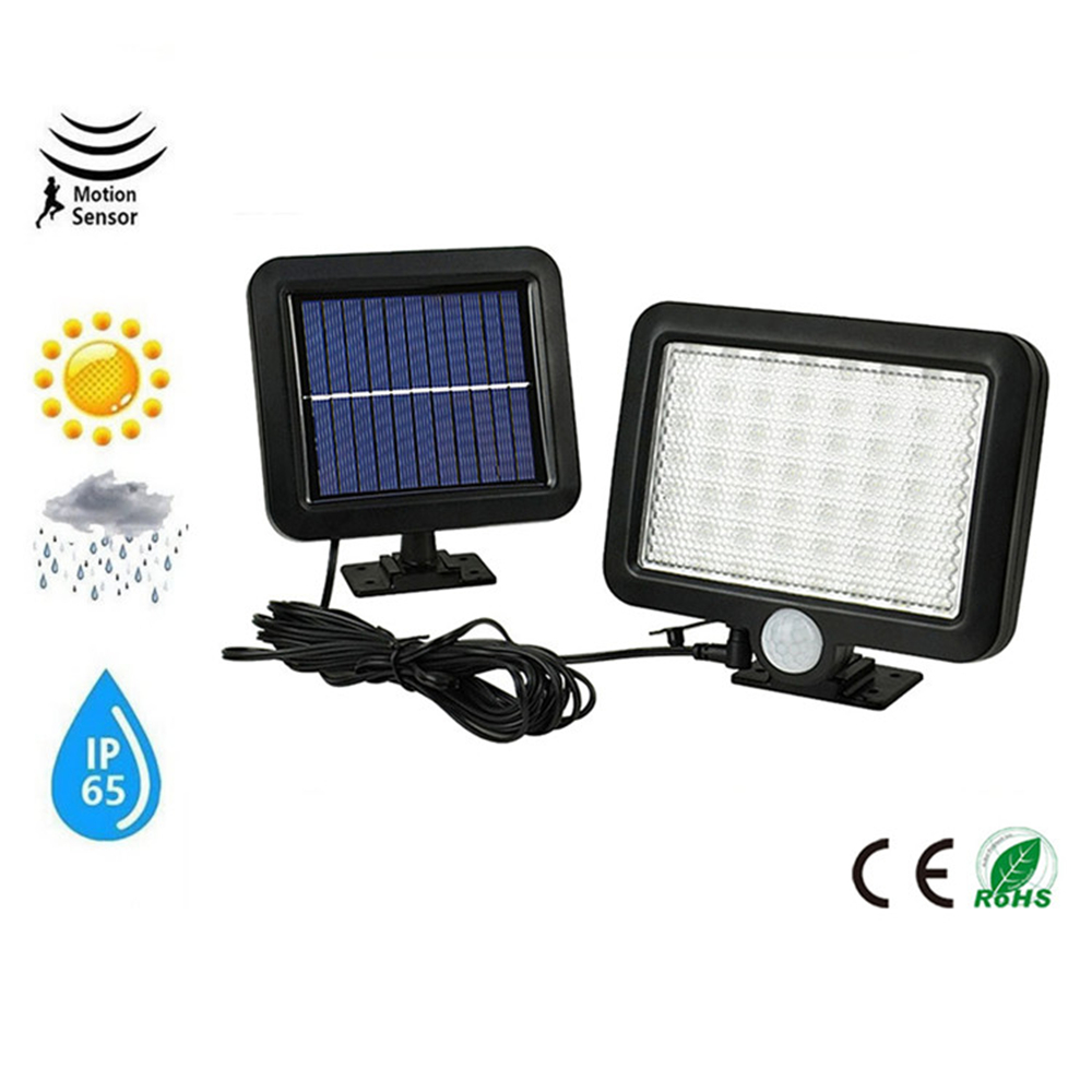 56/30LED Solar Power Street Light PIR Motion Sensor Wireless Wall Lamp Garden Security Lamps Outdoor Waterproof Luminaria Split