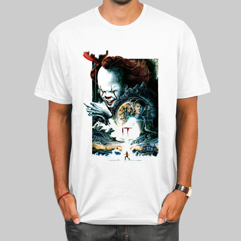 It Chapter Two Clown <font><b>Pennywise</b></font> T-shirt Men Summer T-shirt Boy Print <font><b>Tshirt</b></font> Anime T Shirt Brand Clothing White Color Tops Tees image