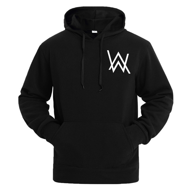 Hoodie Men Alan Walker Winter Fleece Sweatshirt Sign-Printing Hip-Hop Rock-Star Faded