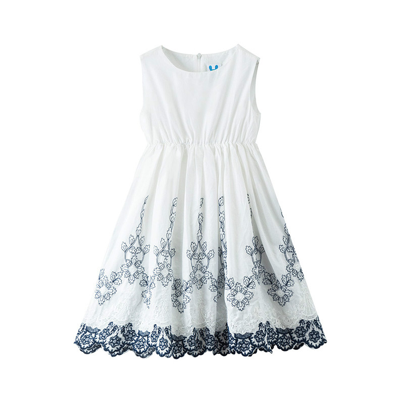 2020 Summer New Embroidery Girls Dresses Kids Elegant Dresses For Teen Girls Fashion Baby Girls Sleeveless Dresses, #9058