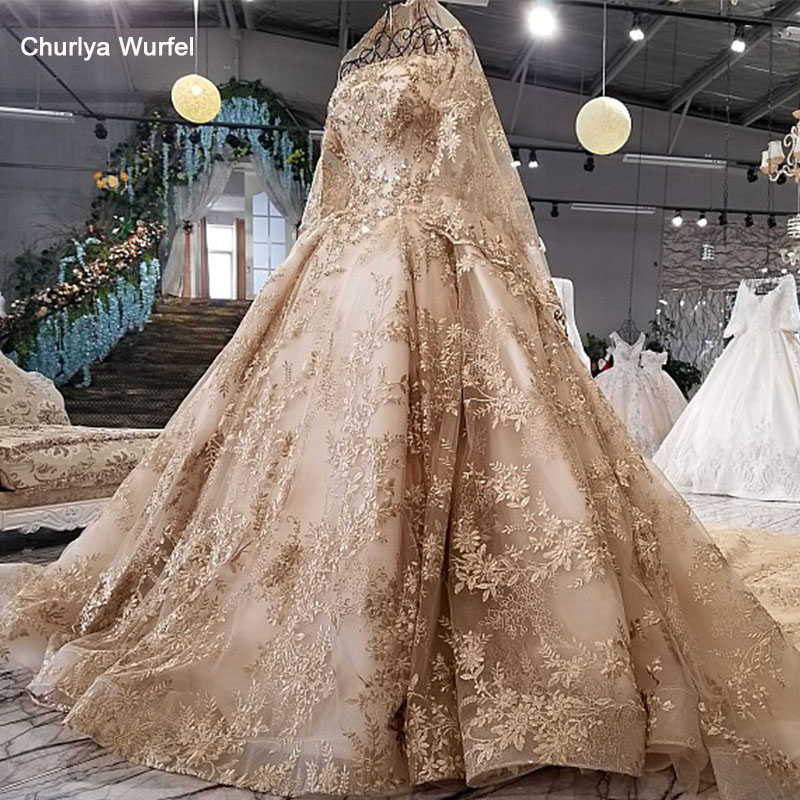LS41106 Luxury Evening Dress With Veil Boat Neck Half Sleeves Ball Gown Golden Lace Formal Dress Evening Party Robe De Soir E