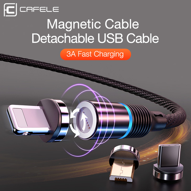 CAFELE QC3.0 Magnetic USB Date Cable for iPhone Micro USB Cable type C cable Charger for Samsung Xiaomi Huawei Fast charging