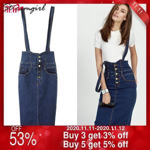 Image 1 - Streamgirl ロングデニムスカートとストラップ女性ボタンジーンズスカートプラスサイズロングハイウエストペンシルスカートデニムスカートレディース