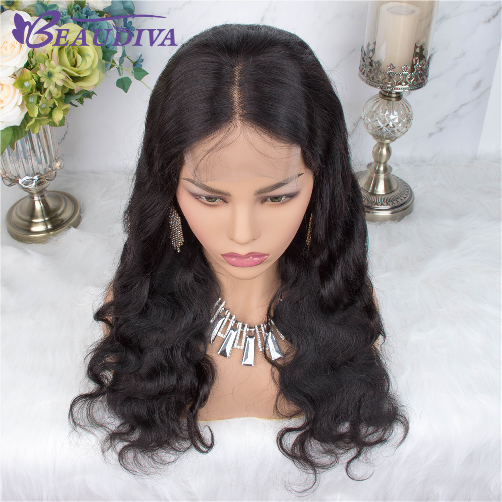 Body Wave Human Hair Wigs For Women Pre Plucked Brazilian Body Wave Middle Part 4*4 Lace Closure Wig Bleached Knots Baby Hair-in Lace Front Wigs from Hair Extensions & Wigs