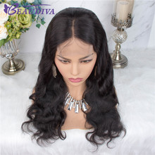 Body Wave Human Hair Wigs For Women Pre Plucked Brazilian Middle Part 4*4 Lace Closure Wig Bleached Knots Baby