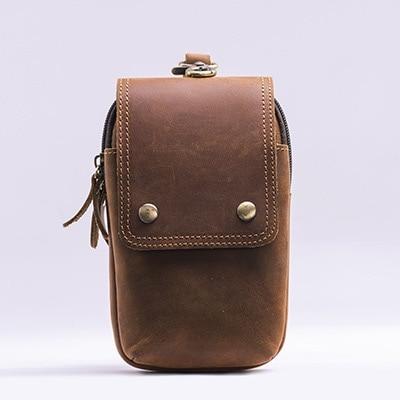 Vintage Crazy Horse Leather Men's Belt Bag Multifunctional Leather Shoulder Bag