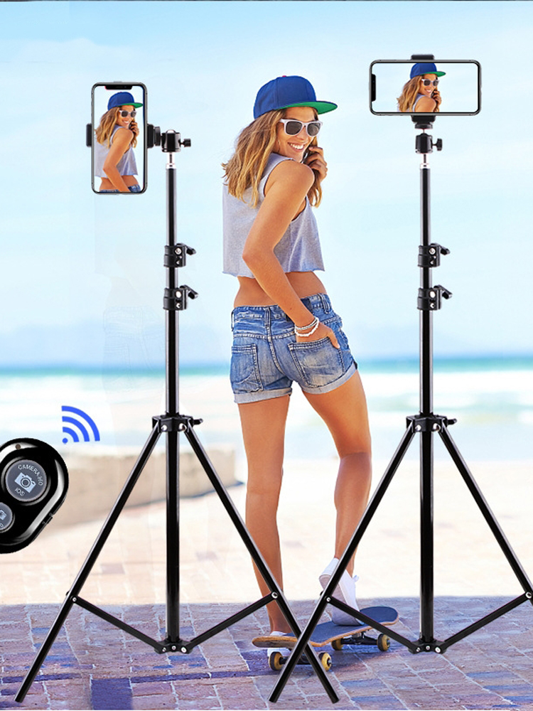Aluminum Tripod Camera Cell-Phone Gopro Huawei Tiktok Live-Photography Bluetooth Xiaomi