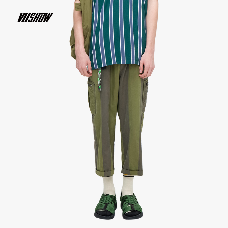 VIISHOW 2019 Summer new casual pants men mens nine striped stitching youth male Army Green trousers KC1120192