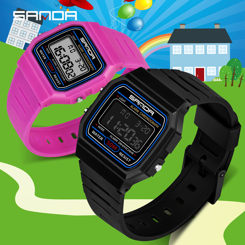 Fashion SANDA Brand Children Watches LED Digital Kids Watches Boys And Girl Student Multifunctional Quality Wristwatches