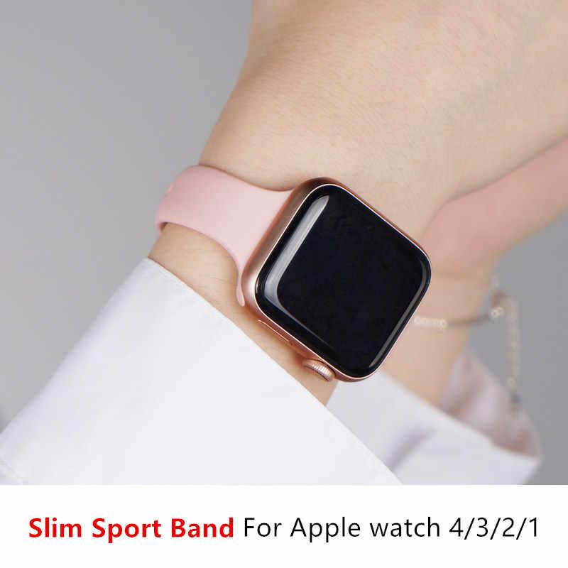 Kayış Apple saat bandı apple watch 5 4 3 2 iWatch bileklik 42mm correa 38 mm 44mm 40mm Silm silikon pulseira bilezik kordonlu saat
