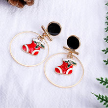 Europe And America New Style Women's Cool Christmas Shoe Circular Ring Pendant Earrings Hot Sales Ear Stud(China)
