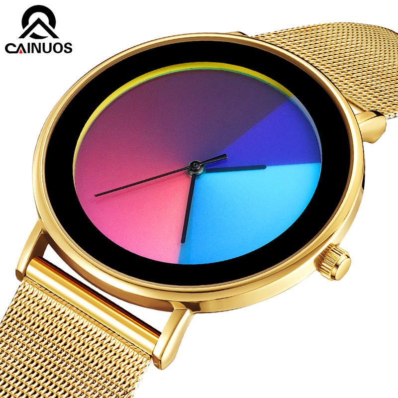 CAINUOS Colorful Quartz Watch Casual Mesh Belt Fashion Quartz Gold Watch Mens Watches Luxury Waterproof Clock Relogio Masculino