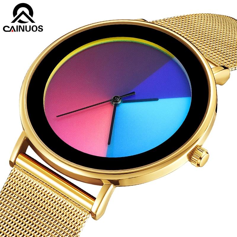 CAINUOS Colorful Quartz Watch Casual Mesh Belt Fashion Quartz Gold Watch Mens Watches Luxury Waterproof Clock Relogio Masculino