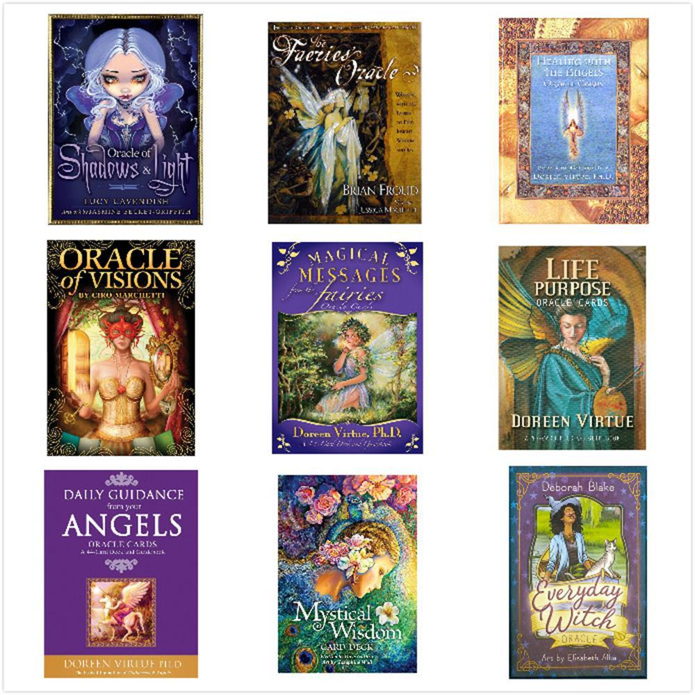 32-78pcs Tarot Cards Deck Game English Version Angel Therapy Oracle Tarot For Fun Game Playing Card Table Games Entertainment