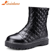 KARINLUNA New Fashion Big Size 34-43 Flat With Non-slip Zip Shoes Woman Casual Party Comfortable Autumn Spring Ankle Boots Women