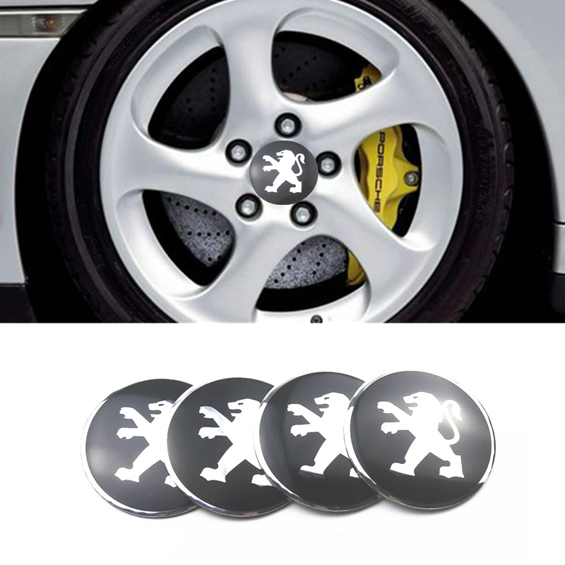 Car-styling 4pcs 56mm Car Tire Wheel Center Hub Caps Decorative Sticker For Peugeot 206 207 208 308 408 508 2008 3008