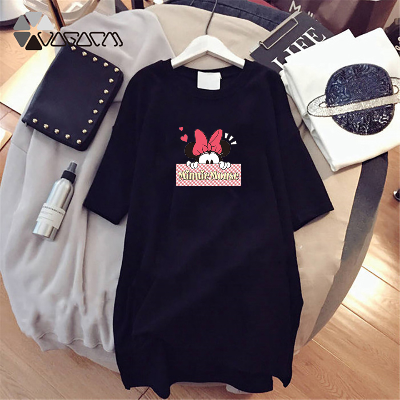 Image 4 - 2019 Summer Women Dresses Minnie Mickey Cartoon Print Casual Loose White Mini Women Clothing Big Size Dress Femme-in Dresses from Women's Clothing