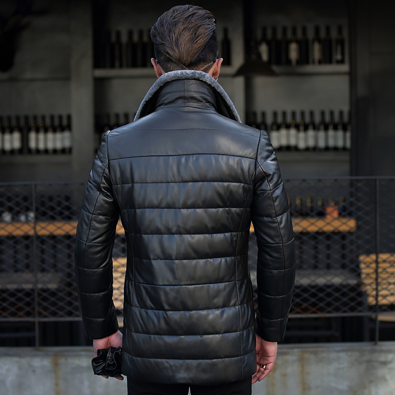 Men's Winter Genuine Jacket Men Sheepskin Leather Warm Down Coat Real Sheep Fur Collar Jackets 18S855 YY384