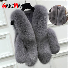 Faux Fur Coat 2019 Winter Fur Vest For Women Warm short waistcoat female casual loose Fur jacket sleeveless Women's Coat Vests(China)