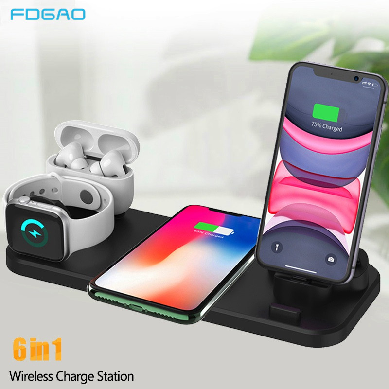 10w Qi Wireless Charger Dock Station For Iphone Airpods Pro Micro