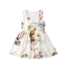 Princess Girl Dress 1-6Years Flower Baby Girls Toddler Kids Dress Button Party Pageant Tutu Dresses Clothes baby girls dress wedding for girls dresses kids clothes toddler princess tutu dress girl birthday pageant dress