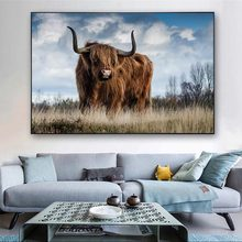Highland Cow on the Grass Nordic Art Posters And Prints Animals Art Pictures Wall Decor Landscape Paintings For Living Room