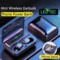 Doboss TWS auricular Bluetooth V5.0 estéreo Mini auriculares inalámbricos pantalla LED auriculares inalámbricos con soporte de teléfono con micrófono Dual