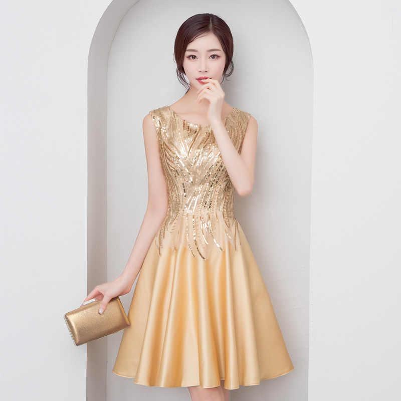 זהב מבריק פאייטים פורמליות שמלה לנשף קו קצר נשים המפלגה שמלות O-צוואר שרוולים אלגנטי שמלות Vestidos דה גאלה 2020 k188