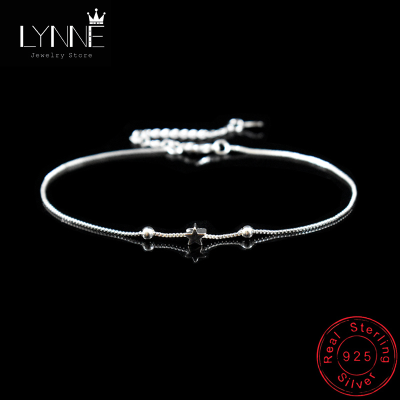 New Fashion Star&Square Bead Pendant Anklets 925 Sterling Silver Simple Exquisite Summer Foot Chain Bracelets Women Jewelry Gift