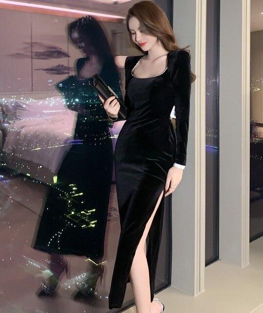 2021 Autumn Elegant Women Long Sleeve Slim Split Velvet Black Sexy Backless Evening Party Dress 1