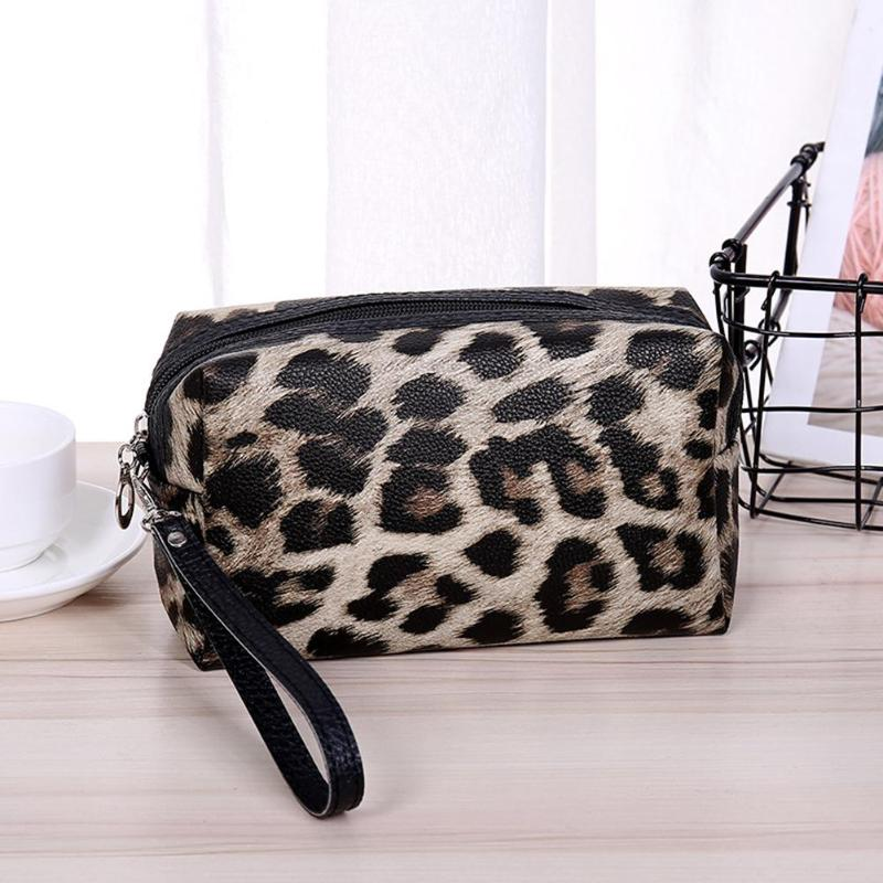 New Fashion Handbags Portable Delicate Design Travel Portable Cosmetic Organizer Case Leopard Print Women Makeup Storage Pouch