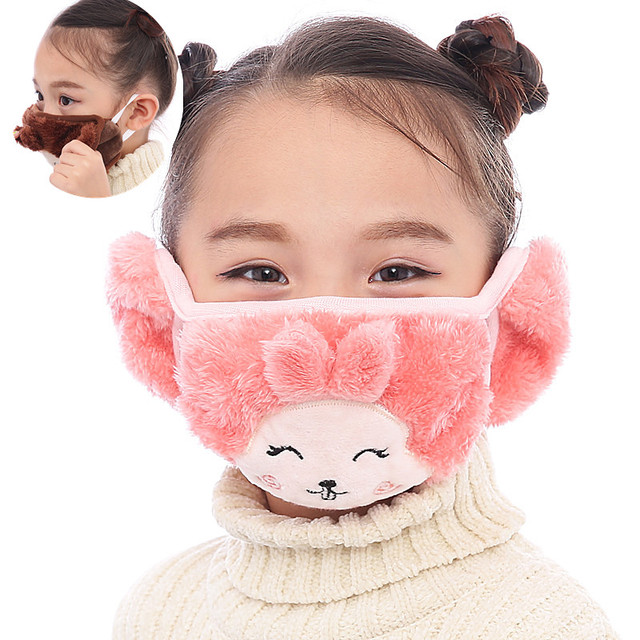 Mother and child Cute rabbit Ear protective kids mouth mask Windproof Mouth-muffle anti dust winter masks Children Anti Haze Flu 4