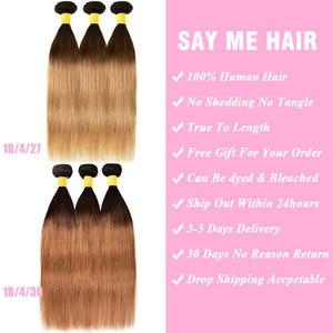 Image 2 - Mel loira ombre pacotes de cabelo em linha reta com fechamento do cabelo humano 3 4 pacotes com fechamento remy tecer cabelo brasileiro pacotes