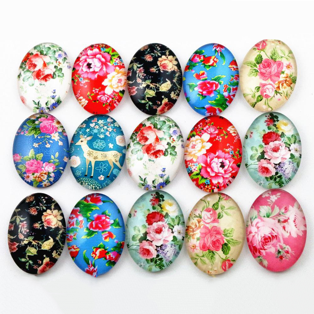 10pcs 18x25mm  Mixed Handmade Photo Glass Cabochons (D6-09)