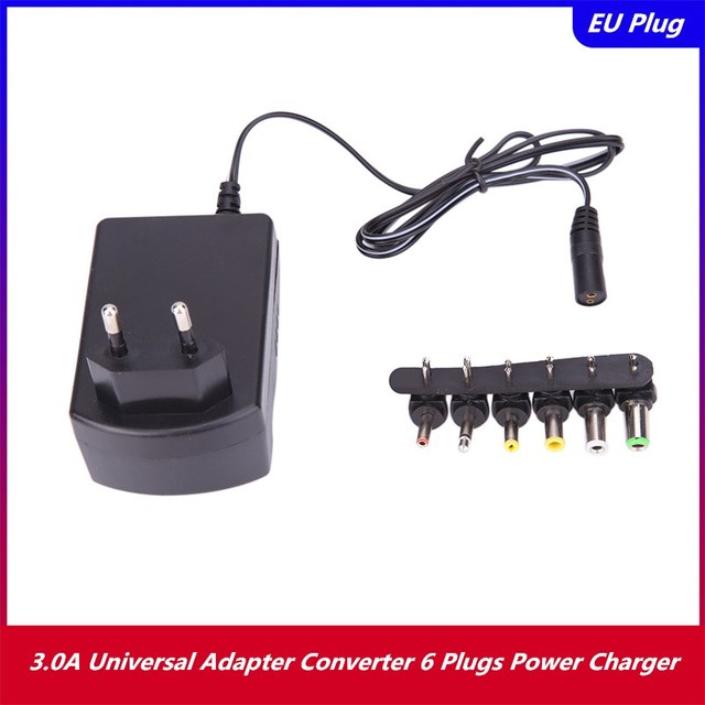 3.0A Universal AC 100/240V DC Adapter Converter 6 Plugs DC 3, 4.5, 6, 7.5, 9, 12 V 30 Power Charger EU