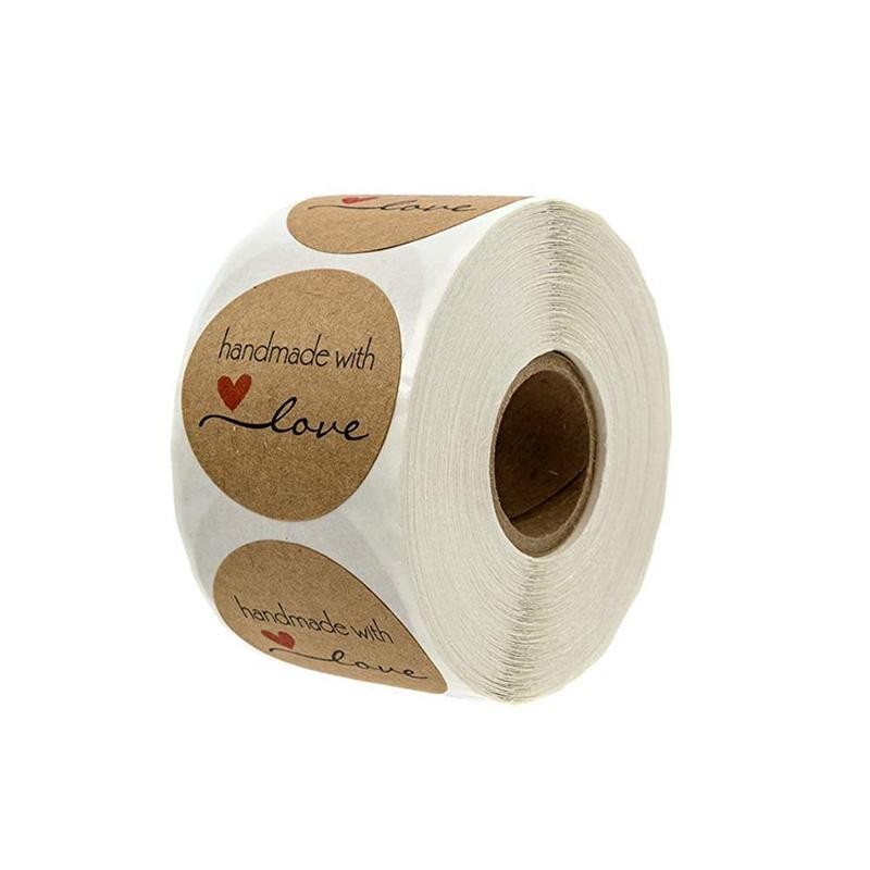 Natural Handmade Round Love Shape Kraft Paper Stickers Labels Decoration 500* A On Wedding Party Stickers Roll Volume I3W9