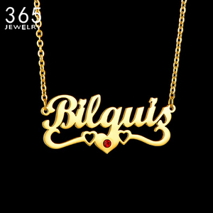 Customized Necklaces Personalized Names Collar Stainless Steel Collier Letters Birth Stone Nameplate Heart Necklaces Jewelrys