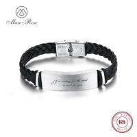 Muse Rose Men Customized Gift PU Leather Bracelet for Men Silver 925 Bar Luxury Jewelry Customizable Engraving Bangle