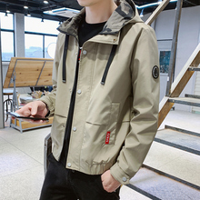 YUECHEN Autumn And Winter Mens Casual Pockets Decorative Slim Hooded Jacket Single-breasted Solid Color Windproof M-4XL