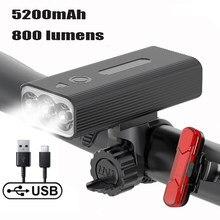 Novo t6 farol para bicicleta 5200mah power bank usb exigível luz da frente lâmpada led mtb estrada lanterna ciclismo acessórios