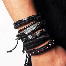 IFMIA, винтажный кожаный браслет, модный, ручная вязка, многослойный кожаный браслет с перьями и листьями, модный мужской браслет, подарок