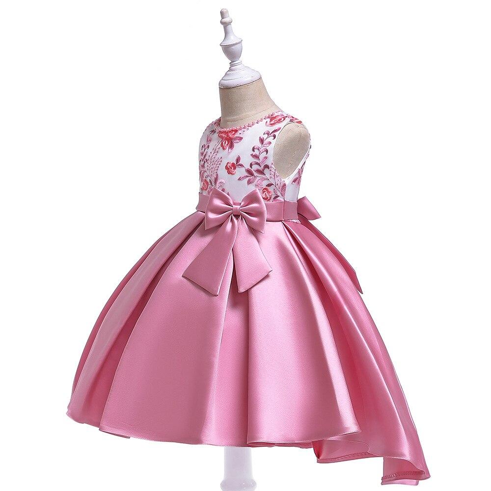 Europe And America CHILDREN'S Dress Girls Embroidery Beaded Bracelet Princess Skirt Bow Late Formal Dress CHILDREN'S DAY Childre