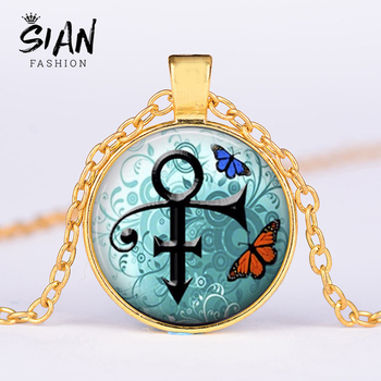 SIAN Prince Rogers Nelson The Artist Necklace American Pop Singer Prince Memorial Symbol Glass Dome Pendant Neaklaces Jewelry image