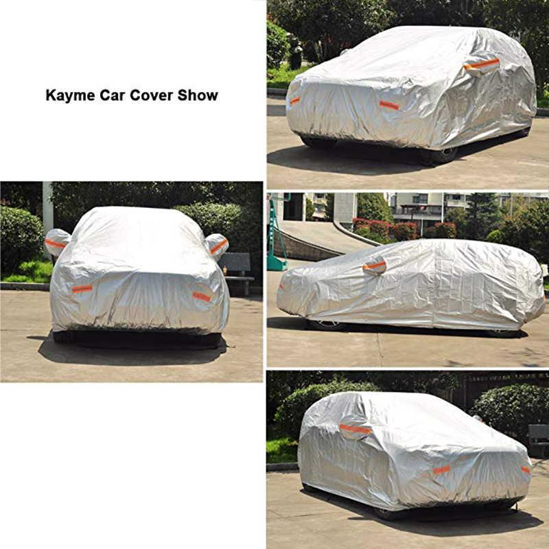 Kayme 210T wodoodporne pełne pokrowce samochodowe na zewnątrz słońce ochrona uv, kurz deszcz śnieg ochronny, uniwersalny Fit suv sedan hatchback