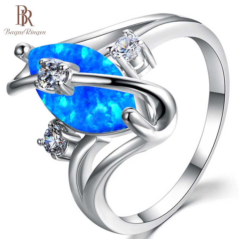 925-Sterling-Silver Ring Fine-Jewelry Gemstone Blue Oval Opal Women with 10mm Engagement