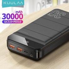 Kuulaa banco de potência 30000 mah qc pd 3.0 poverbank carregamento rápido powerbank 30000 mah usb carregador de bateria externa para xiaomi mi 10 9