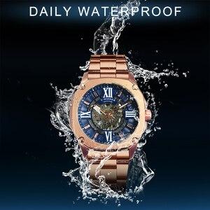 Image 5 - Kazanan resmi moda otomatik izle erkekler İskelet mekanik erkek saatler Top marka lüks paslanmaz çelik kare kol saati