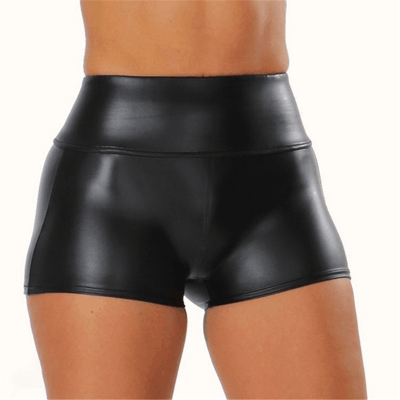New Womens Faux Leather Tight PU Shorts Euramerican Fashion High Waist Shorts WORK OUT Sexy Short Women Shorts Sexy Black Shorts